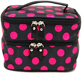 Bonamart Small Cosmetic Makeup Organizer Bag, Double Layer Black Pink Dot Travel Toiletry Bag with Mirror (7.87 x 4.72 x 5.51 inches) - Sale