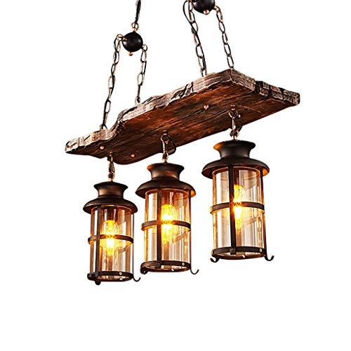 Pendelleuchte Vintage Industrielle Pendellampe schwarz Metall und Glas Holz Rustikal Kronleuchter Höhenverstellbar Für E27 Lampe Geeignet für Wohnzimmer Schlafzimmer Küche Esszimmer Hängelampe