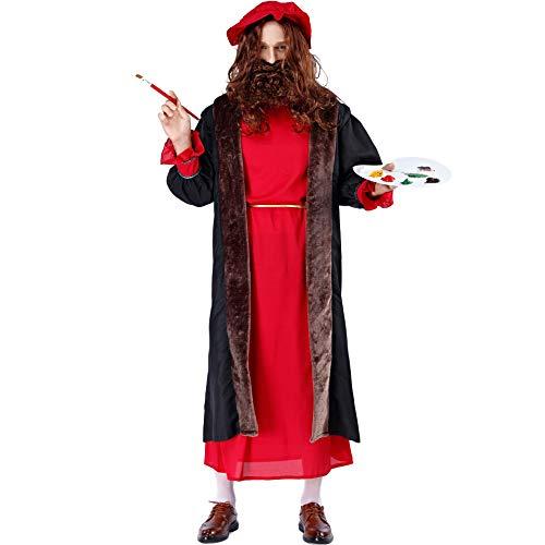 Story of life Disfraz Halloween para Hombre Cosplay, Traje Drama Actuación, Famoso Pintor Al Óleo, Ropa Renacentista Europeo Y Americano,Rojo,M