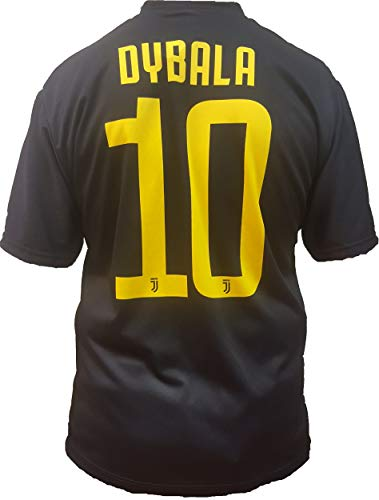 Camiseta de Fútbol Paulo Dybala 10 Juventus Tercera Camisa Negra Temporada 2018-2019 Replica Oficial con Licencia - Todos Los Tamaños NIÑO y Adulto