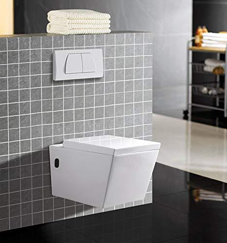 WC - Toilette | Wand WC · Keramik Toilettenschüssel · inkl. Toilettendeckel mit Absenkautomatik | Burgtal 18005