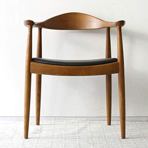Echt leer Kennedy stoel terug stoel restaurant woonkamer lounge, lederen bekleding rugleuning massief houten poten 1 stuk, walnoot (kleur: A)