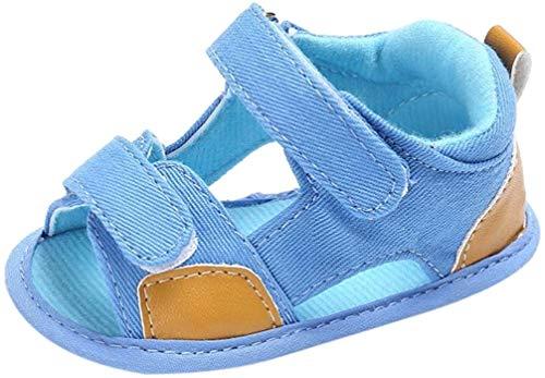 Chaussures de Bébé Sandales,LuckyGirls Mode Été Bébé Garçons Sandales Anti-dérapante Doux Unique Toddler Sneaker Semelle Souple Chaussures - Toile- 0~12 Mois (Âge: 12~18 Mois, Bleu Clair)
