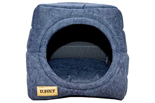 Toca e Cama Luppet 2 em 1 com Almofada para Cachorro ou Gato de 6kg a 12kg Azul Petroleo G