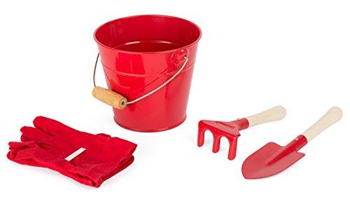 Small Foot 10837 Kinder-Gartenwerkzeug im Eimer inkl. Harke, Schaufel und Handschuhen aus Metall mit Holzstiel, Gartenhelfer-Set für kleine Gärtner, Rollenspielzeug für Spielspaß an der frischen Luft