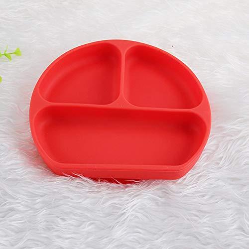 Yaoaofron Assiette Monobloc en Silicone pour Enfants Bol de complément Alimentaire pour bébé Assiette en Silicone pour Enfants avec ventouses Rouge