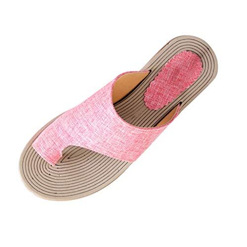 Womens Summer Flats Hemp Slippers Roman Sandals Comfortable Open Toe Beach Travel Sandals Flip Flops Shoes 5-10.5 (Pink, US:6.5)
