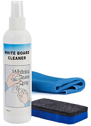 officematters 8 oz Chalkboard Whiteboard Liquid Cleaner Spray and Eraser Set for Blackboards Whiteboards Glass Liquid Chalks and Dry Erase Boards,Non-Toxic