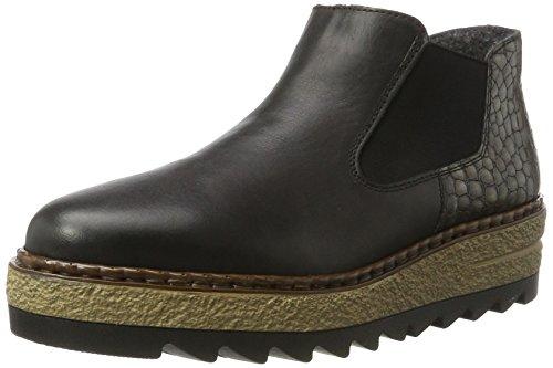 Rieker Damen 55890 Chelsea Boots, Schwarz (nero/altsilber), 41 EU