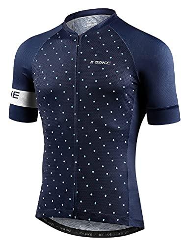 INBIKE Maglia Ciclismo Uomo Estivi Giacche MTB con Maniche Corte Riflettente Traspirante Asciugatura Rapida(Blu,L)