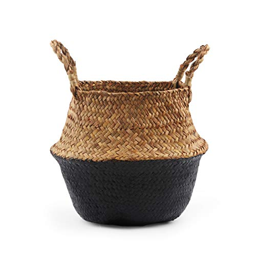 BlueMake Woven Seagrass Belly Basket for Storage, Laundry, Picnic, Plant Pot Cover, and Grocery and Toy Storage (Black,Large)