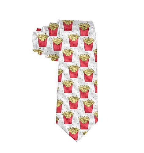 Krawatte Lustige Krawatten Pommes Frites Mode Breit Neuheit Krawatte für Männer Teenager - Weiß - Einheitsgröße