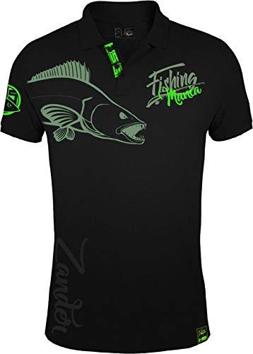 HOTSPOT DESIGN Polo Shirt Fishing Mania Zander, XXL, SW-Grün, 010200505