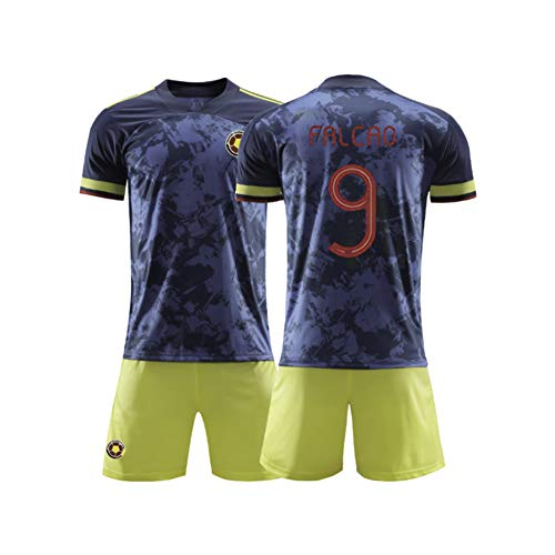 AELN 9# Falcao Colombia - Set di maglia da calcio unisex per bambini, per uniforme da allenamento Athlete's Jersey per adolescenti sportivi, mesh ad asciugatura rapida colore XS (150/165 cm)