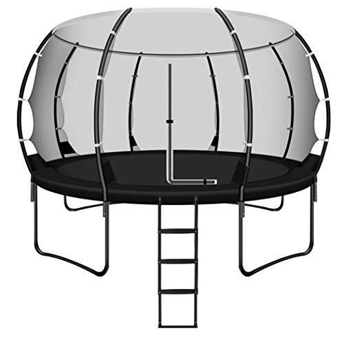 KOQIO 10FT-14FT Elastic Trampoline with Safety Ladder, Outdoor Indoor Fitness Bouncer with Safety Enclosure Net for Play And Exercise Jumping Trampoline for Kids And Adult,10FT