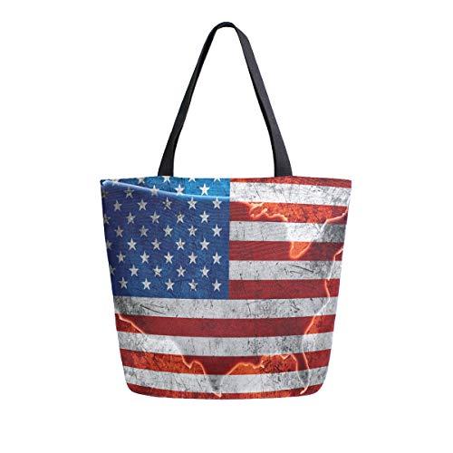Naanle Bolsa de lona grande para mujer de 4 de julio, bolsa de hombro casual, bandera estadounidense, mapa de Estados Unidos, reutilizable, multiusos, bolsa de algodón para compras para el aire libre.