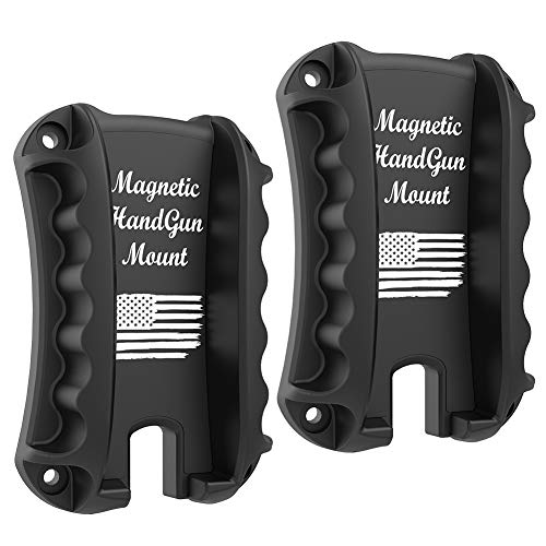TFNUO 2-Pack Gun Magnet Mount & Holster for Vehicle and Home - Magnetic Handgun Mount, Quick Load & Draw Fast Loaded Holster, Concealed Holder Gun Accessories for Handgun, Pistol, Truck, Car, Wall.