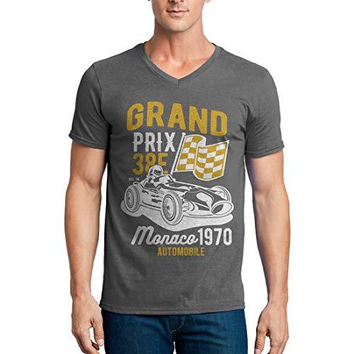 Flamentina Grand Prix Cars Herren T-Shirt V-Ausschnitt Gr. M, anthrazit