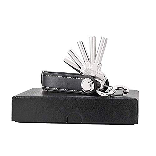 Sinwind Compact Key Organizer Portachiavi pelle portatile Organizer (nero)