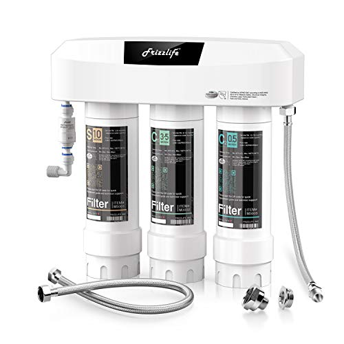 Frizzlife 3-Stage Under Sink Water Filter System SK99-NEW, Direct Connect, Certified 3-Stage 0.5 Micron Carbon Block, Remove 99.99% Lead, Chlorine, Chloramine, Fluoride, Odor & Bad Taste- Quick Change