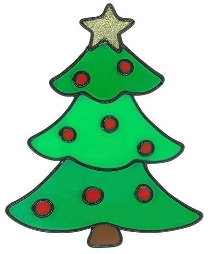 MagicGel raamafbeeldingen Kerstmis - dennenboom (15 x 19 cm), raamdecoratie voor het knutselen met kinderen