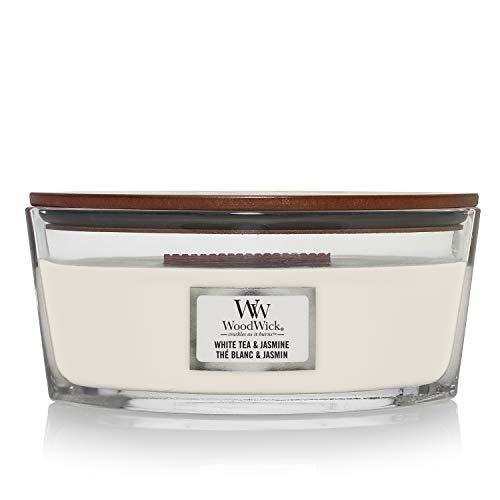 Ellipsenförmige WoodWick Duftkerze mit knisterndem Docht, White Tea & Jasmine, bis zu 50 Stunden Brenndauer