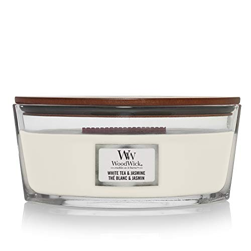 Woodwick Ellipse Scented Candle with Crackling Wick, White Tea and Jasmine