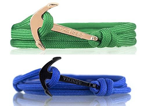 VIKINGS Nylon partner anchor bracelet, a friendship set for men and women one size green blue