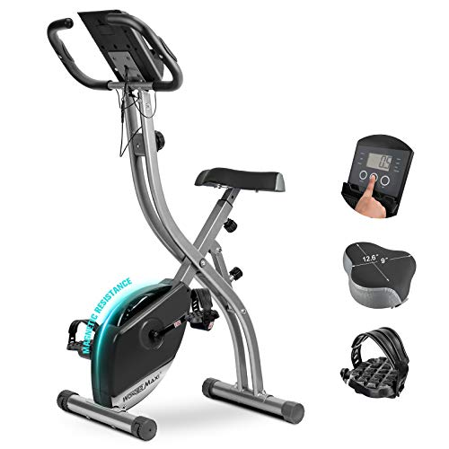 Wonder Maxi Folding Magnetic Exercise Bike, Upright Recumbent Pulse Sensor Indoor Cycling Bike with LCD Monitor Phone Holder for Cardio Workout and Strength Training (Black)