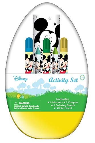 Innovative Designs Kids Activity Egg Craft Kit with Coloring Pages, Stickers, Markers, and Crayons (Mickey Mouse)