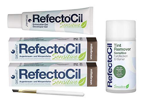 Refectocil Sensitive SET Augenbrauen/Wimpernfarbe 2 x mittelbraun - Entwickler & Farbfleckenentferner