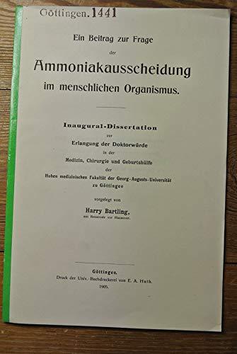 Ein Beitrag zur Frage der Ammoniakausscheidung im menschlichen Organismus.
