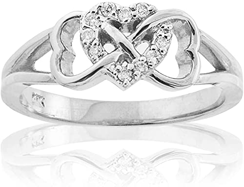 10K White Gold 1/15 Cttw Diamond Accented Triple Heart Infinity Celtic Knot Band Engagement Ring (J-K Color, I1-I2 Clarity) - Size 7