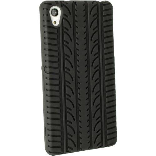 igadgitz U2906 Pneumatico Custodia Cover Silicone e Proteggi Schermo Compatibile con Sony Xperia Z2 D6503, D6543 e D6502 - Nero