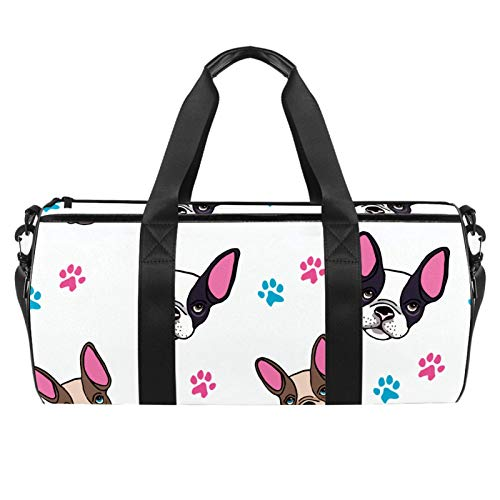 LAZEN Hombro Handy Sports Gym Bags Travel Duffle Totes Bag para Hombres Mujeres Cute Bulldog Francés Puppies and Paws print