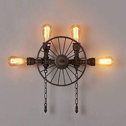 CNCDRS Simple pared de iluminación creativa de hierro forjado de la rueda de la pared accesorio de la lámpara American Metal Industrial pared Linterna de la vendimia de la personalidad Restaurante Bar