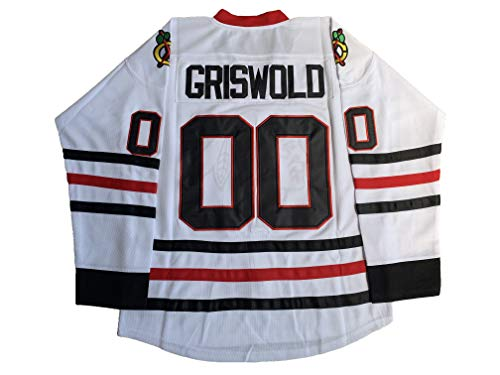 Mens Clark Griswold #00 X-Mas Christrmas Vacation Stitched Movie Hockey Jersey S-XXXL (Large, White)