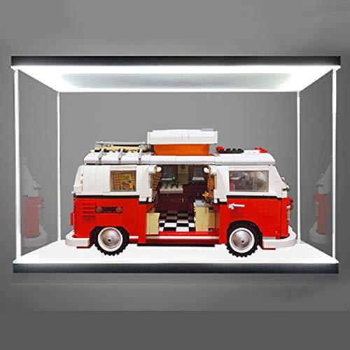 iCUANUTY Vitrina de Acrílico con Luz para Lego 10220 Creator Expert - Furgoneta Volkswagen T1, Display Case Vitrinas para Colecciones Modelismo (Solo Vitrina)