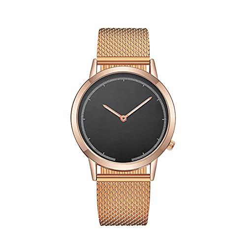 Reloj de correa de malla para mujer, Relojes de pulsera ultrafinos oro rosa