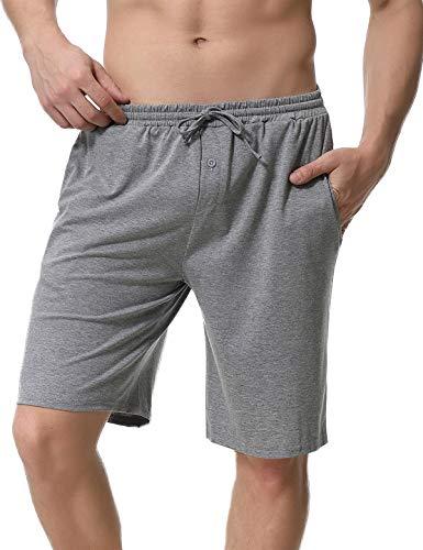 Abollria Pantalones Cortos de Pijama para Hombre Cintura elástica Ajustable y Bolsillo Lateral Pantalones Boxeador Verano Shorts