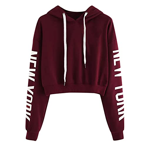 YTZL Sudadera con capucha para adolescentes y niñas, de manga larga, corta, con capucha, estilo vintage, para otoño e invierno, 2 vino, XL