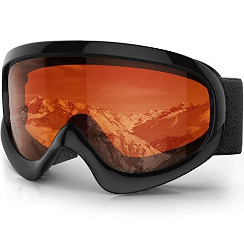 findway K2 Skibrille Snowboardbrille Kinder - Ski Snowboard Brille Brillenträger Schneebrille Verspiegelt für Kinder Jungen und Mädchen 3 4 5 6 7 8 9 10 11 12 Jahre OTG Anti-UV Anti-Fog (Orange)
