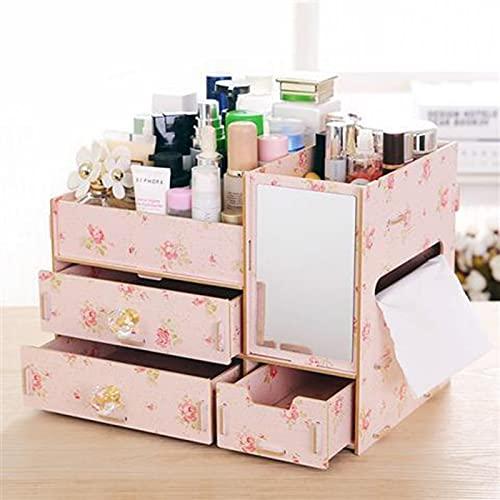 Caja de Almacenamiento cosmético de Madera Escritorio Creativo Joyería para el hogar Rack Camellia-2