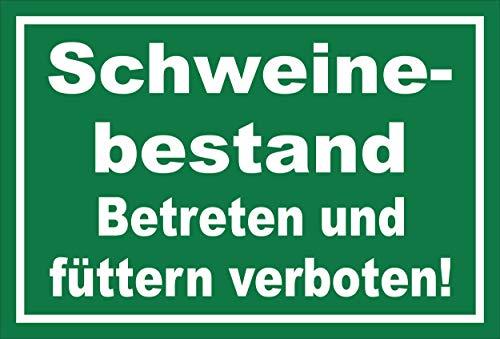 Melis Folienwerkstatt Schild - Schweine-bestand - 15x10cm | Bohrlöcher | 3mm Hartschaum – S00039-023-G - 20 Varianten