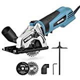 【STRONG 500W POWER】: Featured with a 500W pure copper motor, this compact circular saw delivers a high cutting speed of 5100RPM, efficiently fulfilling your tasks of cutting wood, plastic, metal and other DIY projects 【2 BLADES WIDE APPLICATIONS】: Co...