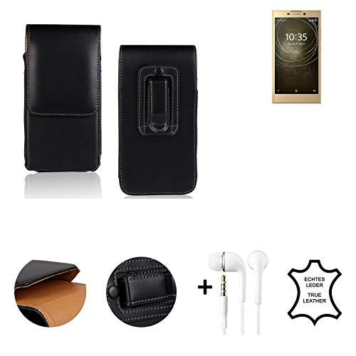 K-S-Trade® Leder Gürtel Tasche + Kopfhörer Für Sony Xperia L2 Dual-SIM Seitentasche Belt Pouch Holster Handy-Hülle Gürteltasche Schutz-Hülle Etui Schwarz 1x