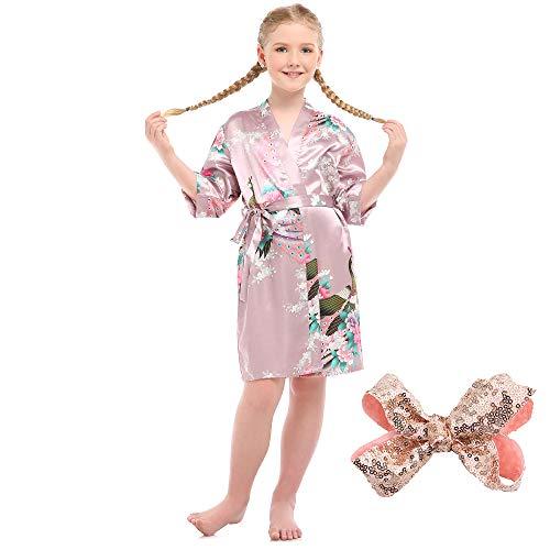 WOWCROSS Mädchen Satin Kimono Robe für Spa Hochzeit, Mädchen Silky Nightgown Peacock Bademantel