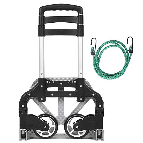Best-ycldcyp Folding Hand Truck, 154 lbs Heavy Duty Luggage Cart, 4 Wheels Solid Construction, Portable Fold Up Dolly, Compact and Lightweight for Luggage, Personal, Travel, Moving and Office Use