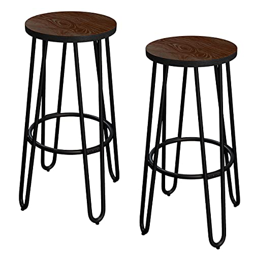 24-Inch Bar Stools - Backless Barstools with Hairpin Legs, Wood Seat - Kitchen or Dining Room - Modern Farmhouse Barstools by Lavish Home (Set of 2)