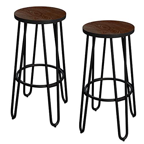 Lavish Home Taburetes de Bar de 61 cm – taburetes de Bar sin Respaldo con Patas de Horquilla, Asiento de Madera – Cocina o Comedor...